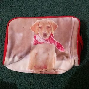 Puppy in the snow makeup bag